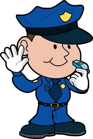 Illustratie van politieagent met de hand omhoog en fluiten Vector Illustratie