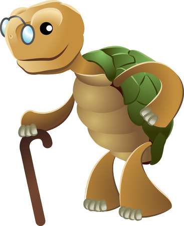 Illustration of elderly tortoise wearing eyeglasses and holding walking cane\r