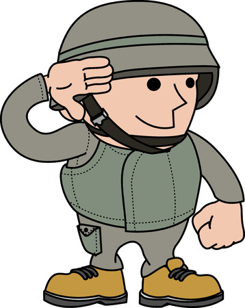 Illustration of male soldier saluting and in military clothing