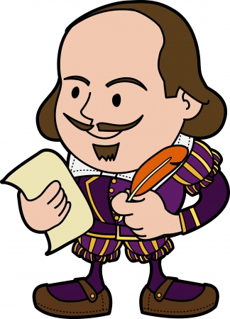 Illustration of William Shakespeare with paper and feather pen