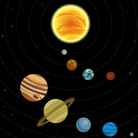Illustration du système solaire avec les étoiles et les planètes
