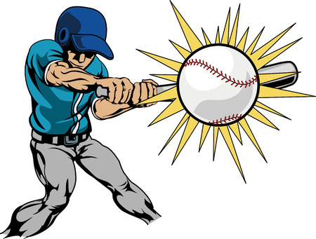 Illustration of baseball player swinging bat to hit baseball