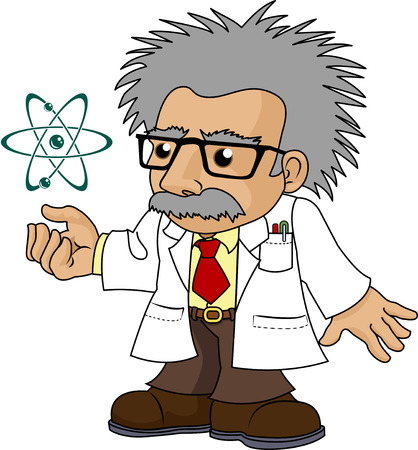 Illustration of nutty science professor looking at galaxy Zdjęcie Seryjne - 4113453