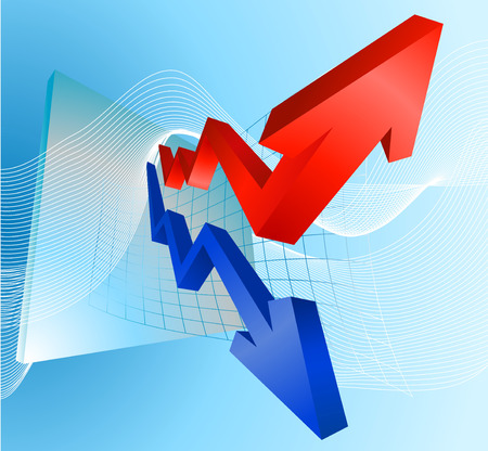 Illustration of profit and loss graph with red and blue arrows