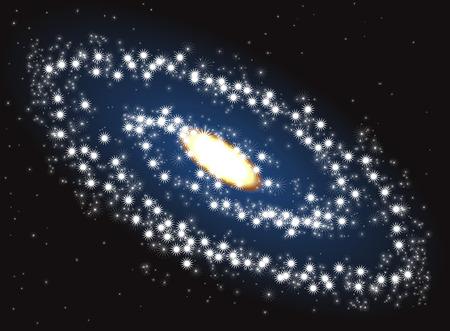 Ilustración de la galaxia en el espacio ultraterrestre Ilustración de vector