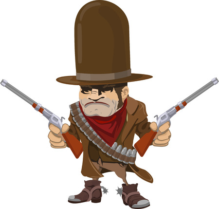 Illustration of cool mean looking cowboy gunman with rifles