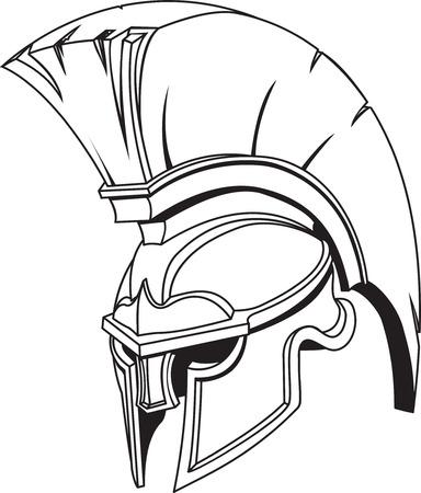 An illustration of Spartan roman greek trojan or gladiator helmet with plume
