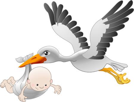 Illustrazione di una cicogna di volo consegna un neonato