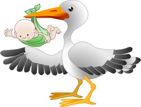 Illustrazione di una cicogna in piedi con un neonato di puntamento