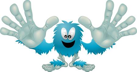 Illustration eines niedlichen pelzigen freundliche blaue Monster