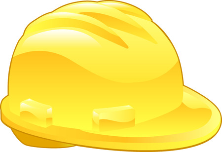An illustration of a shiny yellow hard hat