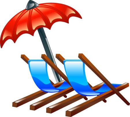 Ilustración de cubierta brillante o satinado sillas de playa y parasol en representación de las vacaciones de verano o vacaciones