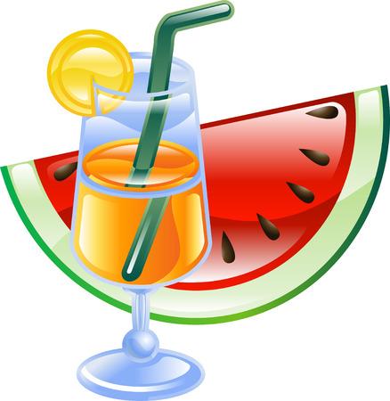 Ein Cocktail orange Sommer Strand und Wassermelone Abbildung Symbol