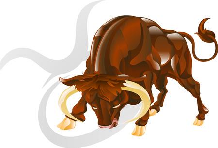 Ilustración que representa Tauro el toro estrella de nacimiento o signo. Incluye el símbolo o icono en el fondo Ilustración de vector