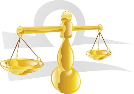 Illustration, die Waage der Waage Stern oder der Geburt Zeichen. Enthält das Symbol oder das Symbol in den Hintergrund
