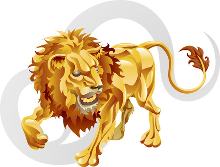 Illustration representing Leo the lion star or birth sign. Includes the symbol or icon in the background