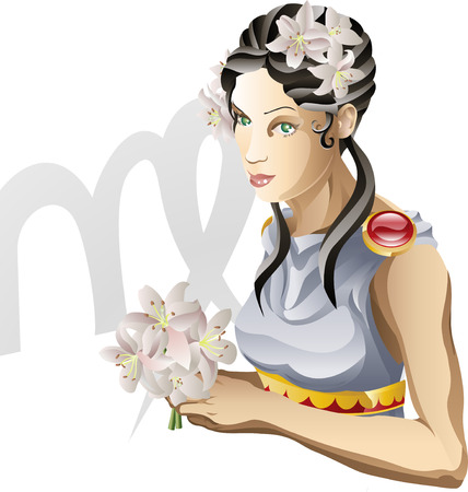 Illustratie Maagd vertegenwoordigt de maagdelijke geboorte ster of ondertekenen. Inclusief het symbool of icoon op de achtergrond