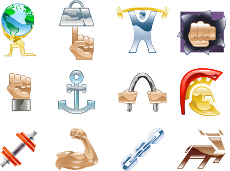 A conceptual icon set relating to strength and being strong.