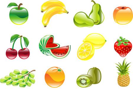Eine wunderschöne glänzend glänzend Obst Icon Set