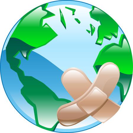 Conceptuele stuk. Wounded wereld, onder verwijzing naar het milieu of sociale kwesties menselijke problemen, armoede, oorlog, enz.