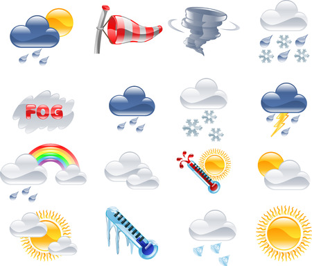 A high quality icon set relating to weather and weather forecasting. Иллюстрация