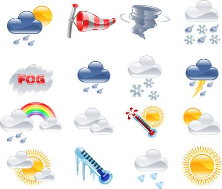 Een hoge kwaliteit pictogram ingesteld met betrekking tot het weer en weersvoorspellingen.