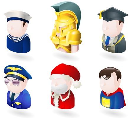 Una red avatar personas o serie de Internet conjunto de iconos. Incluye un marinero o un oficial de la marina, un soldado espartano, o troyano, un maestro o de posgrado, un piloto, Papá Noel o Santa Claus y un superhéroe