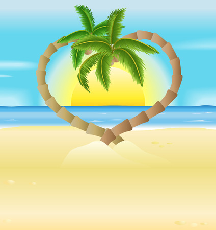 Eine Vektor-Illustration einer romantischen Strand-Szene mit herzförmigen Palmen