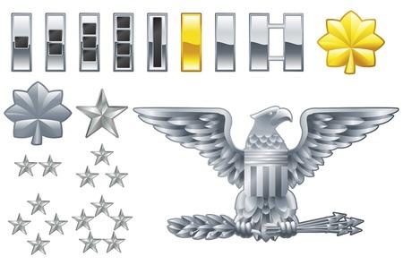Set militärische amerikanische Offizier Reihen Insignien Symbole