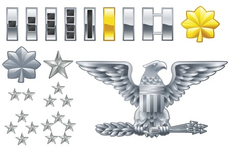 Grupo de militares oficial del ejército estadounidense filas iconos de las insignias