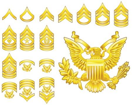 Conjunto de militares del ejército americano alistado rango insignias iconos