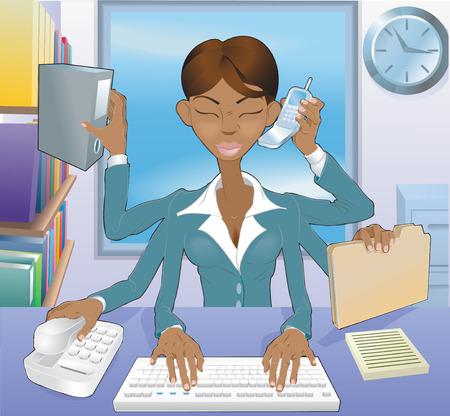 Ilustración de la multi-tarea mujer de negocios negro en la oficina de medio ambiente