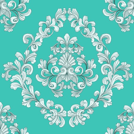 retro seamless tiling floral wallpaper pattern reminiscent of floral victorian designs inspired by greek and roman ornament Векторная Иллюстрация