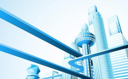 Ilustración abstracta de un paisaje urbano futurista o el horizonte Ilustración de vector