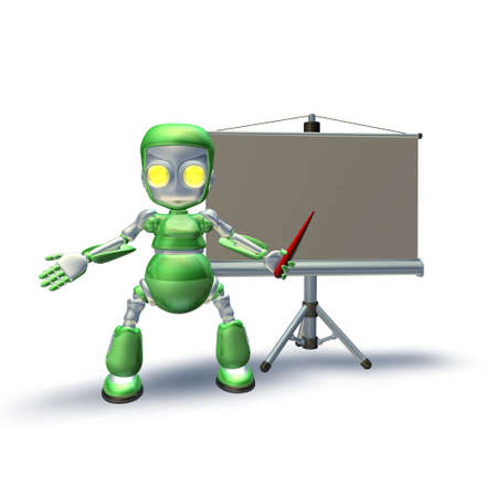 A cute 3d robot character standing with presentation equipment and projection roller screen pointing to the presentation. photo