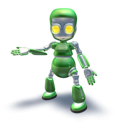A cute green glossy shiny silver metallic robot character presenting or pointing out something photo