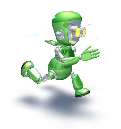 perspiration: A cute green glossy shiny silver metallic robot character exerting himself by running very hard and fast. He is sweating with perspiration flying off in drops.