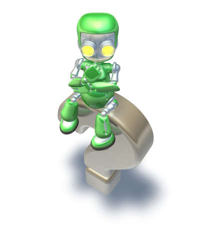Confused cute green metal robot character sitting on top of a giant question mark thinking. photo