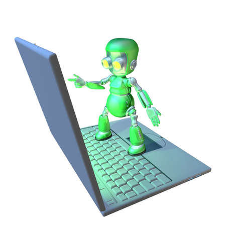 Cute shiny 3d robot character using a giant laptop pointing at the screen. photo