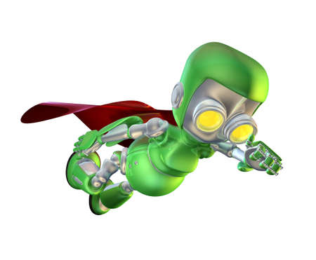 caped:   A cute green glossy shiny silver metallic superhero  robot character flying through the air with a red cape in a classic superhero pose. Stock Photo