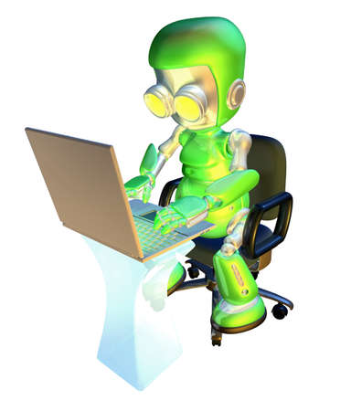 using: A 3d green robot mascot illustration of a cute green robot character sitting in an office chair with using a pc laptop at desk