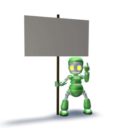 A cute sweet metal robot mascot character pointing up to a placard sign he is holding photo