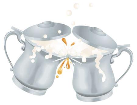 overflowing: Illustration of overflowing Oktoberfest silver coloured metal ale beer mug tankards with lids toasting