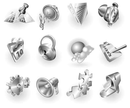 A set of silver steel or aluminium shiny glossy metal metallic internet application icon set series.   photo