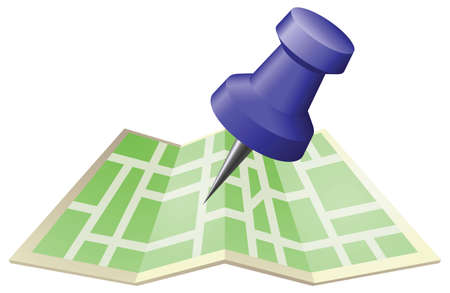 An illustration of a street map with drawing push pin. Can be used as an icon or illustration in its own right. Векторная Иллюстрация