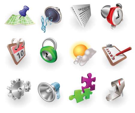 Eine Reihe von Silber Stahl oder Aluminium glänzenden glänzend Metall metallischen Internet Anwendungssymbol festgelegt-Serie.