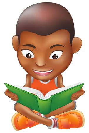 Ilustración de un niño negro, leyendo un libro