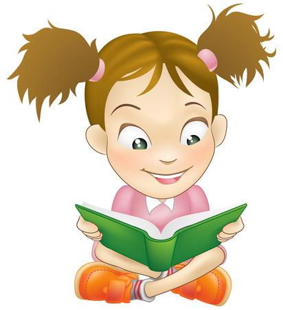 Ilustración de una joven niña dulce felizmente leyendo un libro
