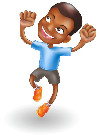 An illustration of a young black boy jumping for joy