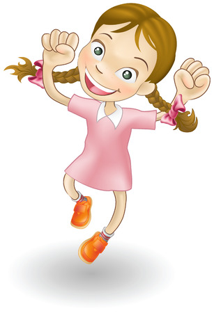 An illustration of a young Caucasian girl jumping for joy